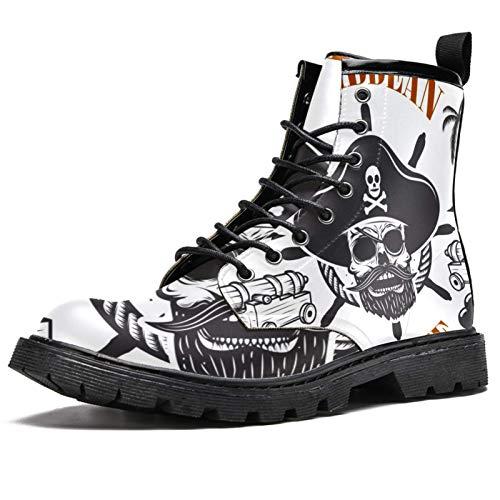 Botas de invierno con estampado pirata caribeño para mujeres y niñas, botas de nieve cálidas con parte superior alta de tobillo con cordones para la escuela, color Multicolor, talla 39.5 EU