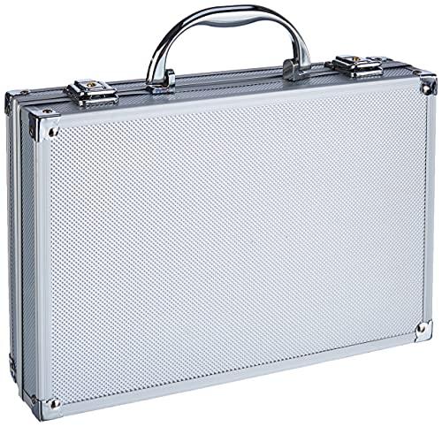 Peaktech 7255 - Custodia Universale per Strumenti di Misura, Custodia in Alluminio Resistente, Vano Porta Attrezzi, Imbottitura in Schiuma, con Lucchetto, Antipolvere, M - 295 x 195 x 70 mm