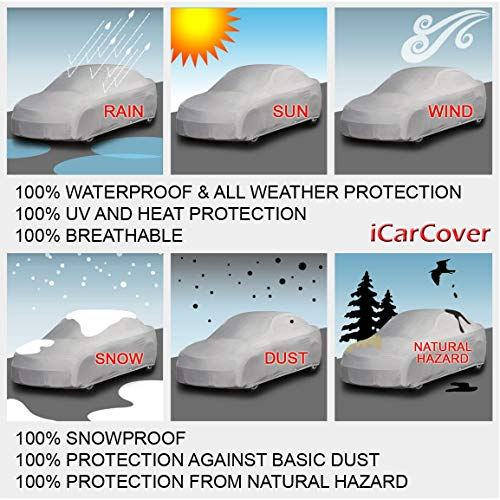OxGord Executive Storm-Proof Car Cover 100 Water-Proof 7 Layers -Developed for Any All Conditions Ready-Fit Semi Glove Fit Fits up to 200 Inches
