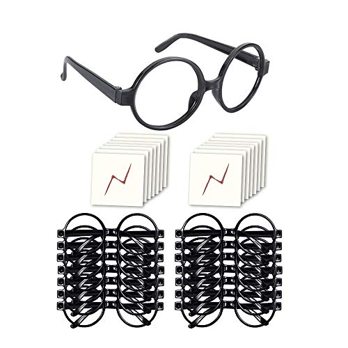 YoHold Wizard Glasses with Round Frame No Lenses and Lightning Bolt Tattoos for Kids Halloween, St Patrick's Day Costume Party, 16 Pack of Each, Black