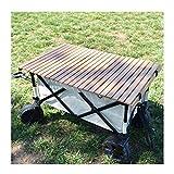 XDD Mesa de Camping, Carrito de Camping Plegable para Jardín Al Aire Libre Ruedas de Cambio de Dirección de 360 ° Mango Retráctil de Múltiples Ángulos Soporte de Carga Máxima 100 KG con Bolso