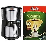 Melitta Look IV Therm Timer Cafetera de Filtro, 1000 W, Negro/Acero Inoxidable Mate + tamano 1 x 4 Gourmet EU Aroma bolsas de filtro zonas, 80 unidades