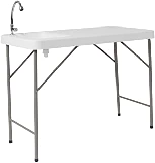 میز فلش 23''W x 45''L جدول تاشو پلاستیکی گرانیت سفید با سینک