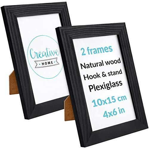 Creative Home 2 x Marco de Fotos 10 x 15 cm Negro | Madera Pino Rústicos | con Soporte y Ganchos para Colgar Horizontal o Verticalmente | Montaje Fácil | Plexiglás | Juego de 2