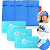 TOUGHITO Gel Ice Packs for Injuries Reusable Ice Pack Set of 3 - Migraine Treatment, Fever Reducer, Muscle & Injury Recovery, Includes Soft Touch Ice Pack Sleeve to Cover Various Size, Use Hot or Cold