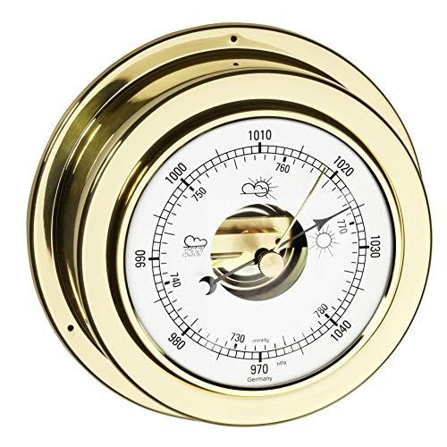 TFA Dostmann Maritim Analoges Barometer, 29.4010.B, zur Wettervorhersage, aus polierten Messing