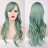 Peluca Alta Temperatura de la fibra de extensiones de pelo for las mujeres púrpura oscuro 70cm del pelo sintético largo cosplay peluca de vestuario Para Mujer Chica ( Color : Green , Size : One size )