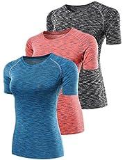 YR.Lover T-shirt voor dames, verpakking van 3 stuks, Dry Fit, compressie, hardlopen, yoga tanktop, T-shirt