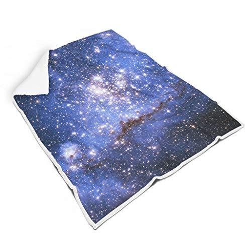 STBlanketshop Komfort Sherpa Decke Werfen Magische Lila Sterne Nebel Galaxis Fantasie Druck Tribal Büro Nickerchen Decke fürs Büro Erwachsene&Kleinkind White 150x200cm