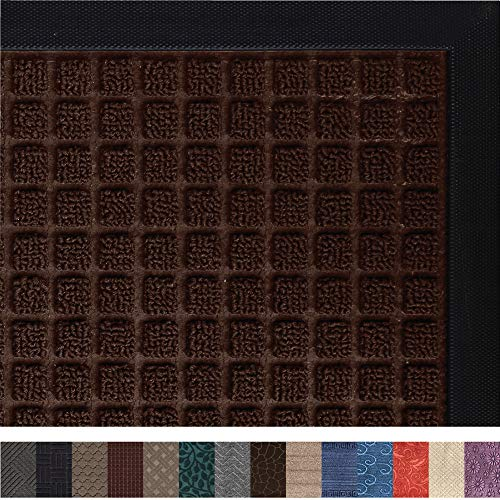Gorilla Grip Original Durable Rubber Door Mat, 29x17, Heavy Duty Doormat, Indoor Outdoor, Waterproof, Easy Clean, Low-Profile Mats for Entry, Garage, Patio, High Traffic Areas, Chocolate Squares