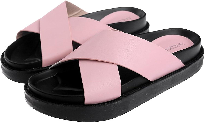Tuoup Womens Leather Skidproof Indoor Outdoor Slide Sandals Sandles