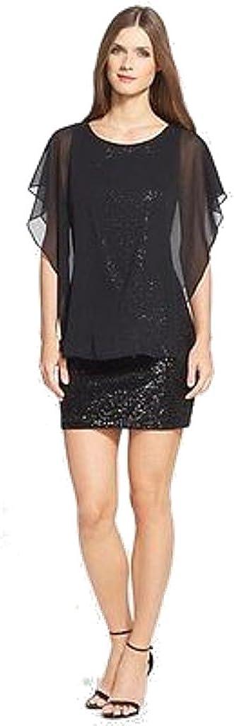 Betsy & Adam Sequin Body-Con Dress with Chiffon Caplet, Black