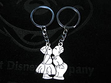 cute kissing on the lips couples keychain / keyring