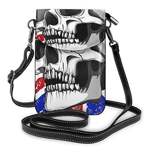 Generic American Bones Kleine Umhängetasche, Handtasche für Damen, PU-Leder, Handtasche mit verstellbarem Riemen für den Alltag