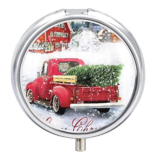 Pastillero redondo,estuche organizador de soporte para tableta de medicina,Bonsai Árbol Navidad Vintage Rojo Camión Copo de nieve,Vitamina decorativa de tres compartimentos