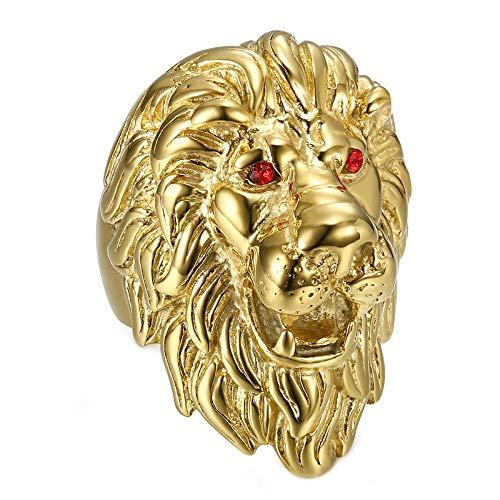 BOBIJOO JEWELRY - Enorme Pesado Anillo Anillo Anillo de Hombre de Cabeza de León Viajero PVD de Oro de Ojos Rojo Rubí - 29 (13 US), Dorado - Acero Inoxidable 316