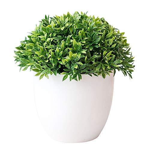 YH Plantas Artificiales Flores Artificiales Bonsai con Maceta Blanca Mini plástico Faux Green Grass para la decoración del hogar y la Oficina al Aire Libre e Interior