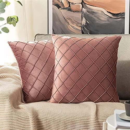 HUIXIZS Velvet Plaid Pillowcase, 2 Piezas Cubierta de cojín Decorativa de 2 Piezas, Use Sofá, Dormitorio, Capacidad de cojín de Sala de Estar (Rosa, 45x45cm)