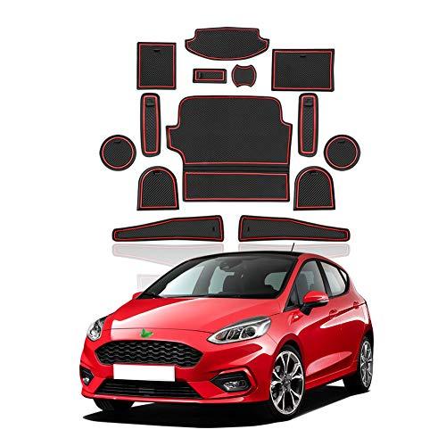 YEE PIN Gummimatten Fiesta MK8 Zubehör Interieur rutschfeste Matten für Mittelkonsole Aufbewahrungsbox Autoteile Innenausstattung