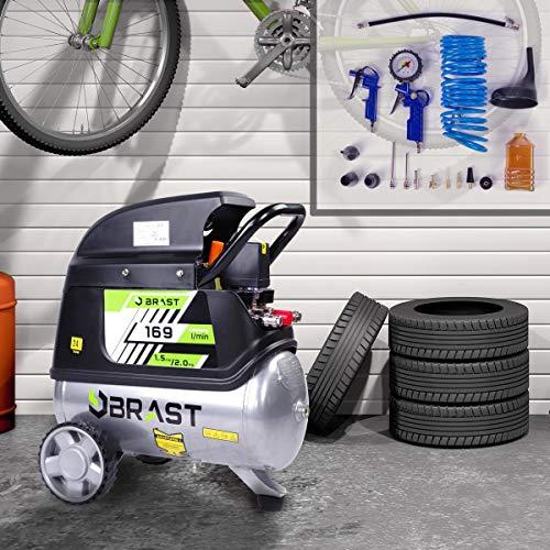 BRAST Druckluft Kompressor 3 Modelle 24l-100l bis 10bar Leistung bis 385l/min Kolbenkompressor Luftkompressor 24L 2,04PS 8bar 163l/min