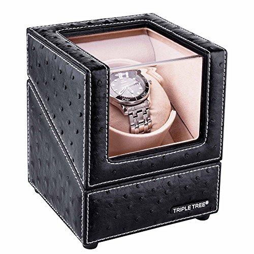 Uhrenbeweger für Automatikuhr, Holz Box mit Schwarzem Leder, mit weichem flexiblem Plüsch Uhrkissen, passend für die meisten Automatikuhren (für 1 Uhr)