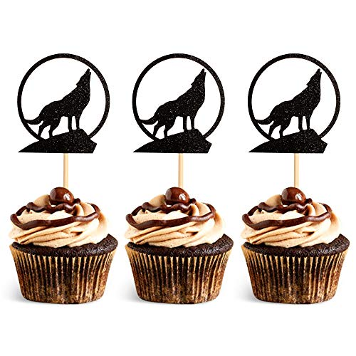 Unimall Pack of 24 Black Wolf Silhouette Glitter Cupcake Topper Wolf Cupcake Toothpick Flags Birthday Wedding Party Decoration