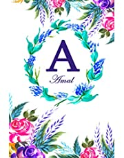 A: Amal: Amal Monogrammed Personalised Custom Name Daily Planner / Organiser / To Do List - 6x9 - Letter A Monogram - White Floral Water Colour Theme