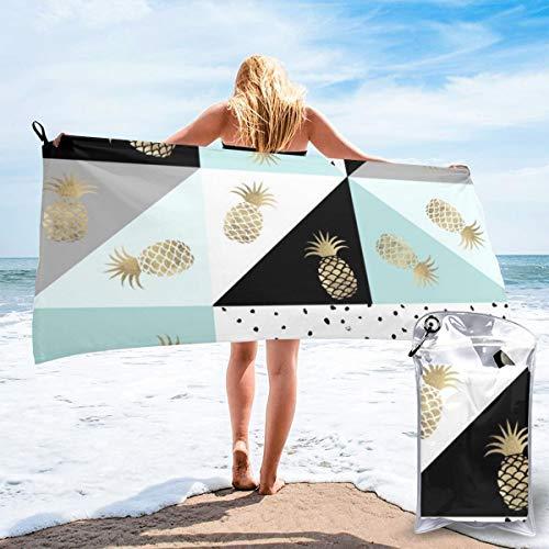 Toallas de viaje de microfibra de color pastel con diseño de lunares de color dorado de imitación y piña, de secado rápido, ligera, sin arena, para tomar el sol, mochilero, deportes, yoga, natación, 63' x 32'