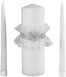 Cecilia Wedding Collection Unity Candle Set, White