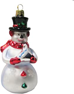 HERSHEY'S Kurt Adler Glass Snowman Kiss Ornament, 5-Inch