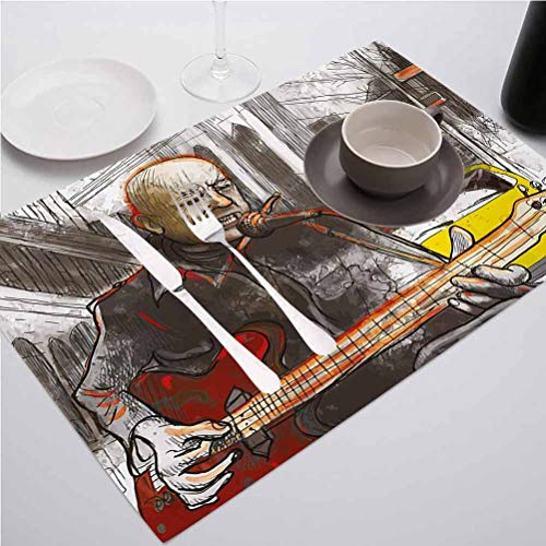FloraGrantnan Waterproof and Easy - Clean Table Mats, Modern Street Musician Man Singing Playing Guitar, Suitable for Home Kitchen Decoration, Set of 4