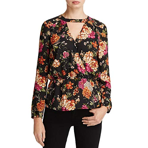 Daniel Rainn Womens Floral Long Sleeve Choker Top Black S