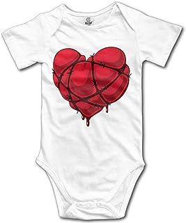 Unisex Baby's Heart Bodysuits Romper Short Sleeved Onesies