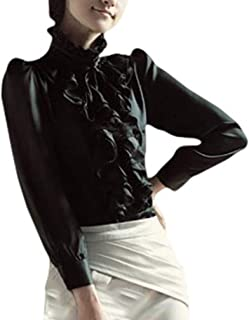 Vintage Vittoriano Button Down Camicetta Donne Collo Alto Frilly Ruffle Shirt Ladies Manica Lunga Formale Lavoro Top Chic ...