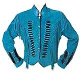LEATHERAY Women Western Style Fringed Leather Jacket Turquoise M