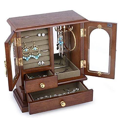 HYY-YY Caja de joyería, caja de almacenamiento de joyería de madera, caja de almacenamiento organizador de almacenamiento