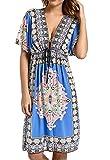 Avacoo Damen Strandponcho V Ausschnitt Blumen Sarong Midi Kleid Pareos Marokko Blau