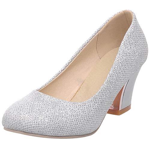 SUCREVEN Mujer Bride Tacón Ancho Elegante Boda Zapatos Punta Redonda Vestido Zapatos...