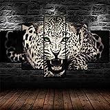45Tdfc Decoracion Salon Modernos 5 Piezas Lienzo Grandes murales Pared hogar Pasillo Decor Arte Pared Cuadro Cartel de Animal Gato Grande Leopardo Fotos HD Impresión Carteles Innovador Regalo
