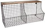 Spectrum Diversified Vintage Double Bin with Wood Storage Wall-Mounted Wire Basket & Wood Shelf, Farmhouse Style Entryway Storage & Organization, Industrial Gray
