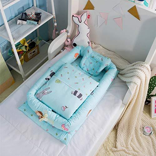 Wan-b Babybett-Bett-tragbares Krippenbett mit der Steppdecke entfernbar und waschbar Baby-Lokalisierungs-Bett-neugeborenes bionisches Bett,Color3,90x55x15cm