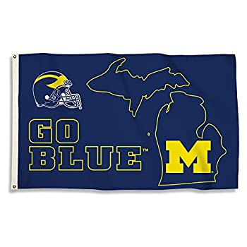 BSI PRODUCTS INC - Michigan Wolverines 3'x5' Flag with Heavy-Duty Brass Grommets - MICH Football Basketball & Baseball Pride - High Durability - Designed for Indoor or Outdoor Use - Great Gift Idea
