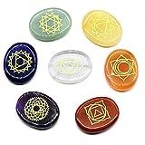 HelloCreate 7 piedras de chakra naturales de curación de Reiki con símbolos grabados.