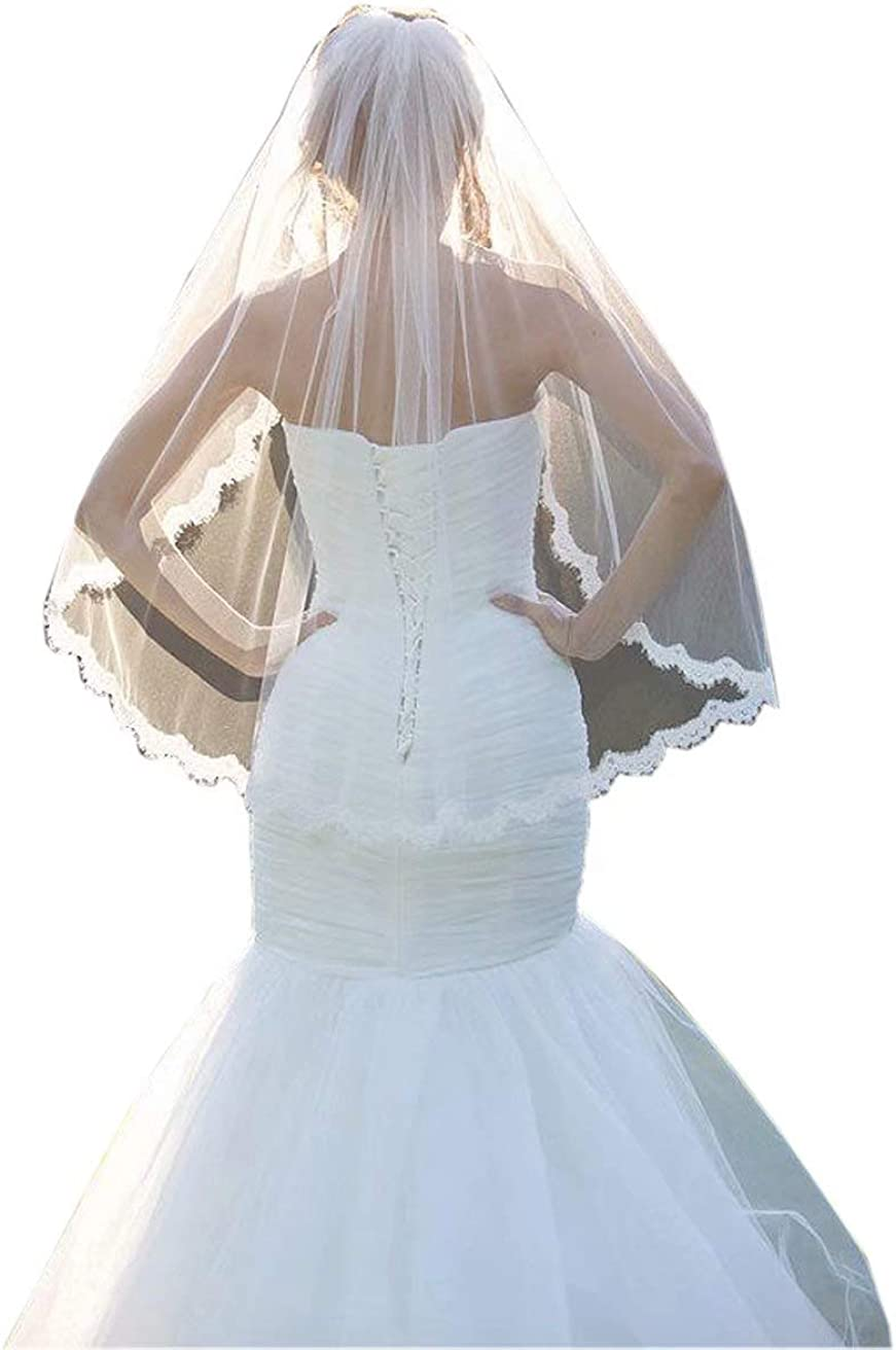 2021 Lace Edge One Layer Soft Tulle Eblow Wedding Veils Fingertip Length With Comb