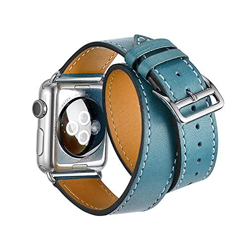 LOXO CASE Pulsera de Reloj de Piel Becerro,para Apple Watch Correa 38mm 40mm 42mm 44mm,Cuero auténtico,Correa de Reloj de Doble Lazo de Cuero Correa,para iWatch Serie 1/2/3/4/5/6/SE,Blue,38mm/40mm