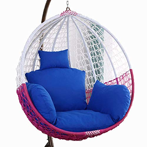 Egg Chair Cushion Only, Hanging Swing Chair Seat Cushion Replacement, Thicken Hanging Hammock Chair Cushion with Headrest and Armrests, Outdoor Garden Chair Pads Navy Blue