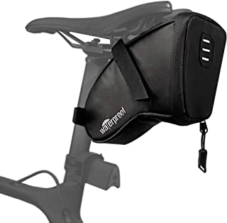 WOTOW Bike Saddle Bag, Waterproof Bicycle Wedge Pack Strap-on Pouch with Water Resistant Zipper & Rear Light Loop PU Coati...