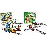 LEGO Duplo Town Tren de mercancías con Luces y Sonidos, Juguete para niños de 2-5 años (10875) + Duplo Town Vías Ferroviarias (10882) Juego para Bebes