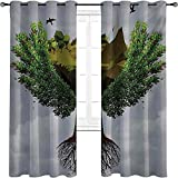 Nature Bedroom blackout curtains, Fractal Tree Figure on the Sky with Dimensional Rocky Cliffs and Birds Nature Print, For living room or bedroom W72 x L84 Inch Green Brown
