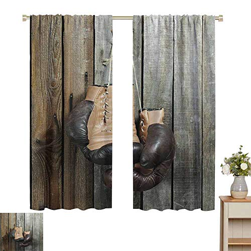 hengshu Vintage Decor Sliding Curtains for Bedroom Vintage Boxing Gloves on Old Wooden Background Antique Equipment Decorative Photo Bedroom Decor Blackout Shades W52 x L45 Inch Brown